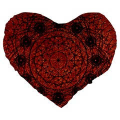 Grunge Style Geometric Mandala 19  Premium Heart Shape Cushion