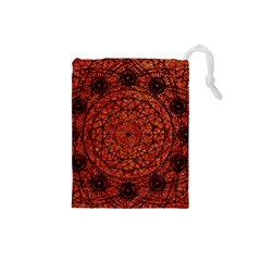 Grunge Style Geometric Mandala Drawstring Pouch (Small)