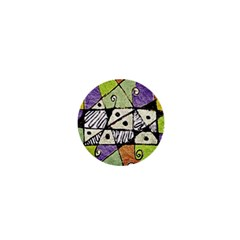 Multicolored Tribal Print Abstract Art 1  Mini Button Magnet