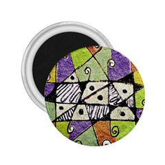 Multicolored Tribal Print Abstract Art 2 25  Button Magnet
