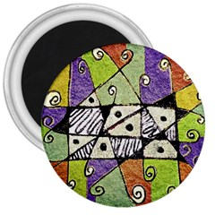 Multicolored Tribal Print Abstract Art 3  Button Magnet