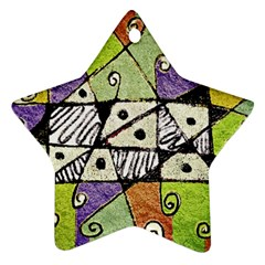 Multicolored Tribal Print Abstract Art Star Ornament