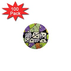 Multicolored Tribal Print Abstract Art 1  Mini Button Magnet (100 Pack)