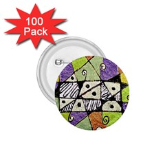 Multicolored Tribal Print Abstract Art 1 75  Button (100 Pack)