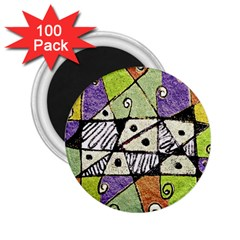Multicolored Tribal Print Abstract Art 2 25  Button Magnet (100 Pack)