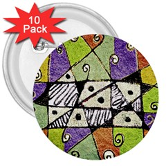 Multicolored Tribal Print Abstract Art 3  Button (10 Pack)