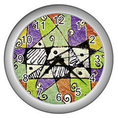 Multicolored Tribal Print Abstract Art Wall Clock (silver)