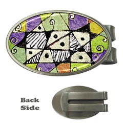 Multicolored Tribal Print Abstract Art Money Clip (oval)
