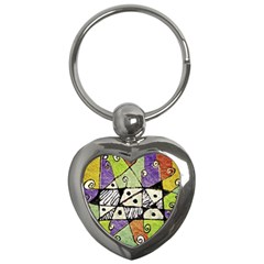 Multicolored Tribal Print Abstract Art Key Chain (heart)