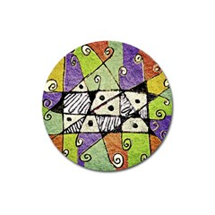Multicolored Tribal Print Abstract Art Magnet 3  (round)