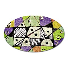 Multicolored Tribal Print Abstract Art Magnet (oval)