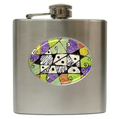 Multicolored Tribal Print Abstract Art Hip Flask