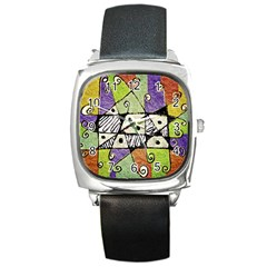 Multicolored Tribal Print Abstract Art Square Leather Watch