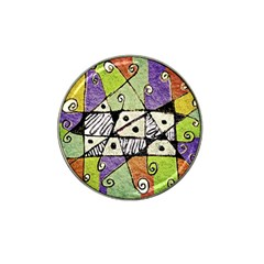 Multicolored Tribal Print Abstract Art Golf Ball Marker 4 Pack (for Hat Clip)