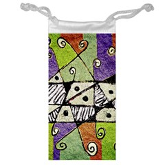 Multicolored Tribal Print Abstract Art Jewelry Bag