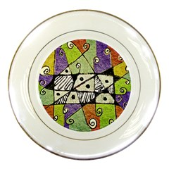 Multicolored Tribal Print Abstract Art Porcelain Display Plate