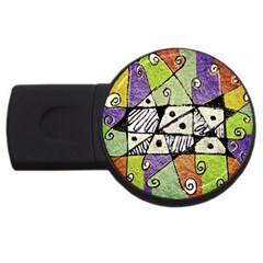 Multicolored Tribal Print Abstract Art 4gb Usb Flash Drive (round)