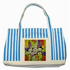 Multicolored Tribal Print Abstract Art Blue Striped Tote Bag