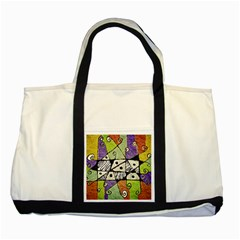 Multicolored Tribal Print Abstract Art Two Toned Tote Bag