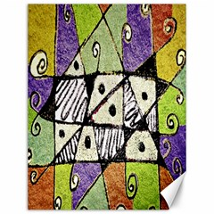 Multicolored Tribal Print Abstract Art Canvas 12  X 16  (unframed)