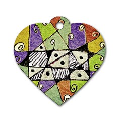 Multicolored Tribal Print Abstract Art Dog Tag Heart (two Sided)