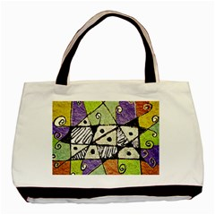 Multicolored Tribal Print Abstract Art Twin Sided Black Tote Bag