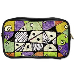 Multicolored Tribal Print Abstract Art Travel Toiletry Bag (two Sides)