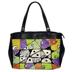 Multicolored Tribal Print Abstract Art Oversize Office Handbag (two Sides)