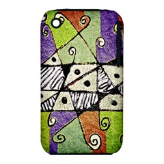Multicolored Tribal Print Abstract Art Apple iPhone 3G/3GS Hardshell Case (PC+Silicone)