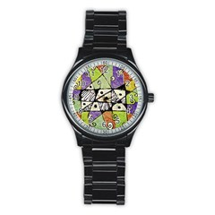 Multicolored Tribal Print Abstract Art Sport Metal Watch (Black)