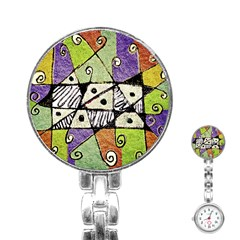 Multicolored Tribal Print Abstract Art Stainless Steel Nurses Watch