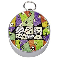 Multicolored Tribal Print Abstract Art Silver Compass