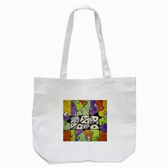 Multicolored Tribal Print Abstract Art Tote Bag (White)