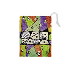 Multicolored Tribal Print Abstract Art Drawstring Pouch (Small)
