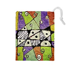 Multicolored Tribal Print Abstract Art Drawstring Pouch (large)
