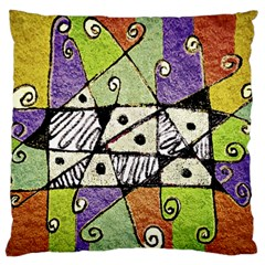 Multicolored Tribal Print Abstract Art Large Flano Cushion Case (Two Sides)