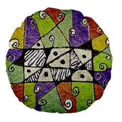 Multicolored Tribal Print Abstract Art 18  Premium Flano Round Cushion