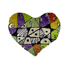 Multicolored Tribal Print Abstract Art 16  Premium Flano Heart Shape Cushion