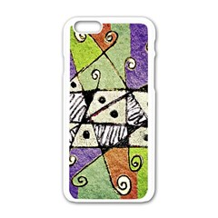 Multicolored Tribal Print Abstract Art Apple iPhone 6 White Enamel Case