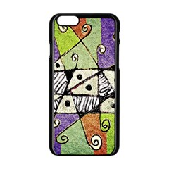 Multicolored Tribal Print Abstract Art Apple Iphone 6 Black Enamel Case