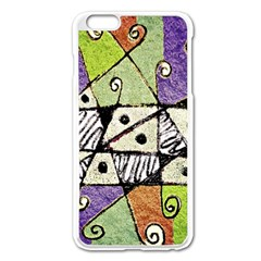 Multicolored Tribal Print Abstract Art Apple Iphone 6 Plus Enamel White Case