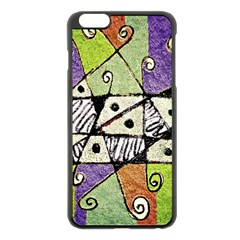 Multicolored Tribal Print Abstract Art Apple Iphone 6 Plus Black Enamel Case