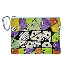 Multicolored Tribal Print Abstract Art Canvas Cosmetic Bag (Large)