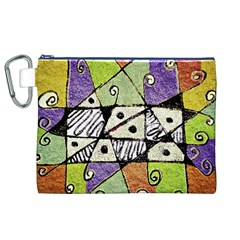 Multicolored Tribal Print Abstract Art Canvas Cosmetic Bag (XL)