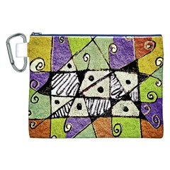 Multicolored Tribal Print Abstract Art Canvas Cosmetic Bag (XXL)