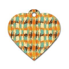 Shredded Abstract Background Dog Tag Heart (two Sides)