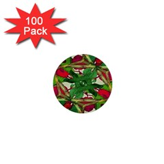 Floral Print Colorful Pattern 1  Mini Button (100 Pack)
