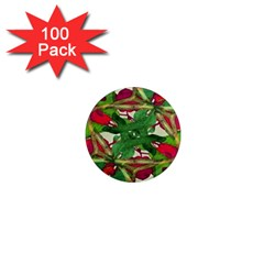 Floral Print Colorful Pattern 1  Mini Button Magnet (100 Pack)
