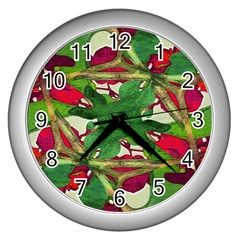 Floral Print Colorful Pattern Wall Clock (silver)