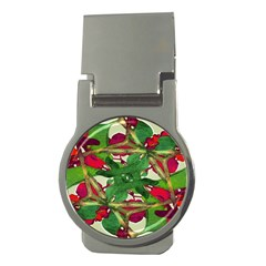 Floral Print Colorful Pattern Money Clip (round)
